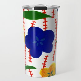 Blue and Yellow Floral Patterns Travel Mug