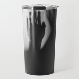 A Lonely Hand, wrist, in shadow, black and white Travel Mug