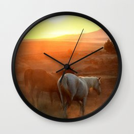 Sunset on Horses Photography Print Wall Clock
