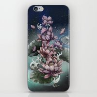 lotus flower iPhone & iPod Skins featuring Lotus by Marine Loup