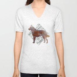 Modern Belgian Malinois Dog Watercolor Stripes Unisex V-Neck