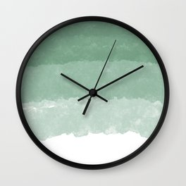 Modern lucite green abstract watercolor ombre pattern Wall Clock