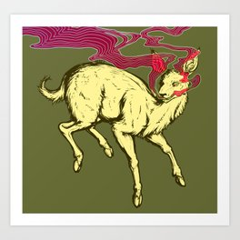 Yellow Deer Art Print