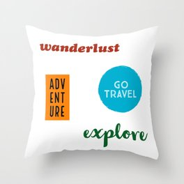 Travel Sticker Pack Throw Pillow