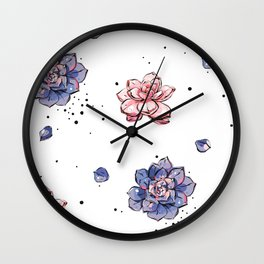 Succulents seamless pattern Wall Clock