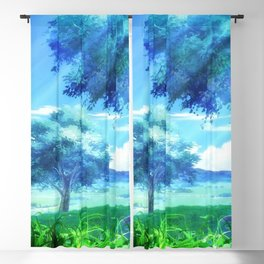 Lovely Green Pasture Anime Scenery Ultra High Resolution Blackout Curtain