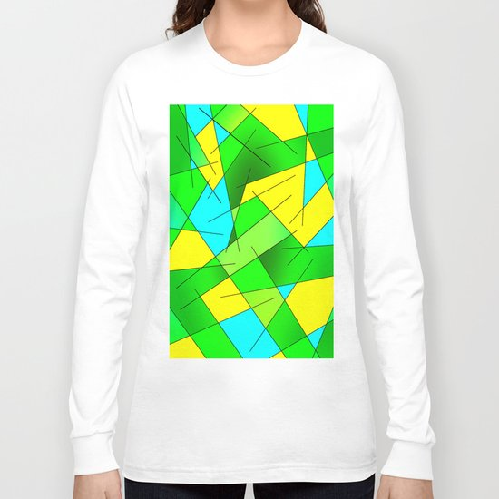 ABSTRACT LINES #1 (Greens, Yellow, Light Blue-Aquamarine) Long Sleeve T-shirt