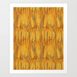 Pattern of Wheat Field Gold and Grey Art Print