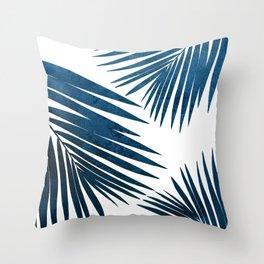 Indigo Palm Fronds Throw Pillow