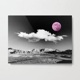 Black Desert Sky & Fuchsia Moon // Red Rock Canyon Las Vegas Mojave Lune Celestial Mountain Range Metal Print