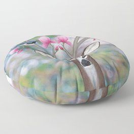 white tailed deer, black throated blue warblers, & magnolia blossoms Floor Pillow