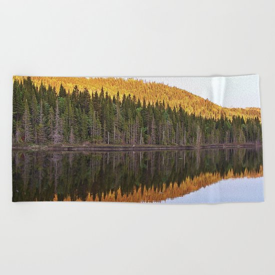 Fall Forest Reflected Beach Towel