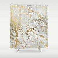 samsung Shower Curtains featuring Gold marble by Marta Olga Klara