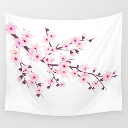Cherry Blossom Pink White Wall Tapestry