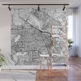 Amsterdam White Map Wall Mural