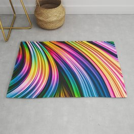 Melos IV. Colorful Abstract Stripes Rug