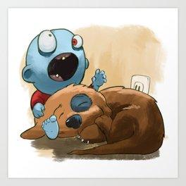 Zombies like to bite stuff too. Art Print