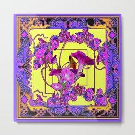 Decorative  Purple Vining Flowers Yellow Art Metal Print