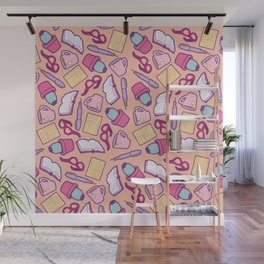 Book Club Pattern in Peach Wall Mural