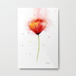 Red Poppy Flower Watercolor Abstract Poppies Floral Metal Print