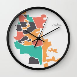Stockton California Map with neighborhoods and modern round shapes Wall Clock