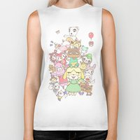 animal crossing Biker Tanks featuring Animal Crossing (yellow) by Siri