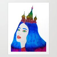 russia Art Prints featuring Russia by Luna Portnoi