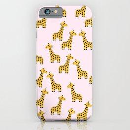 Cute Giraffe Print on Pink Background iPhone Case