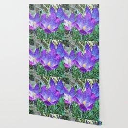 Purple Crocus Mosaic Wallpaper