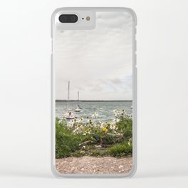 Flowery pier at the docks (Ireland) Clear iPhone Case