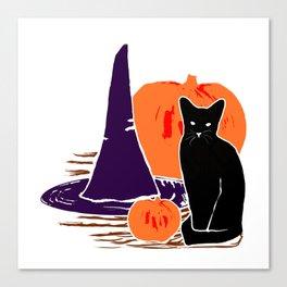 Witch Cat Pumpkin Woodcut Halloween Design Canvas Print
