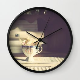 Vintage Orchid in a Chinese Cup and a Book  Wall Clock