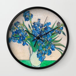 Irises by Vincent van Gogh Oil Painting Still Life Floral Arrangement In Vase Wall Clock
