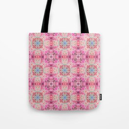 Pink Peach and Blue Pretty Gothic Stained Glass Tile Tote Bag