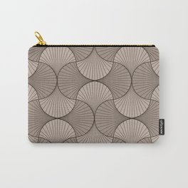 Gingko - Minimal Flower Leaves Beige Carry-All Pouch