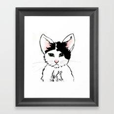 Sadface Cat Sketch Framed Art Print