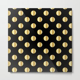 gold polka dot on black Metal Print