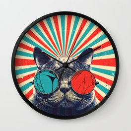 The Spectacled Cat Wall Clock