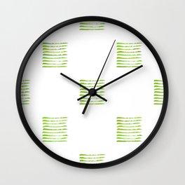 Grass green stripes, hand painted rough texture Wall Clock
