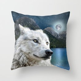 White Wolf and Moonlight Throw Pillow