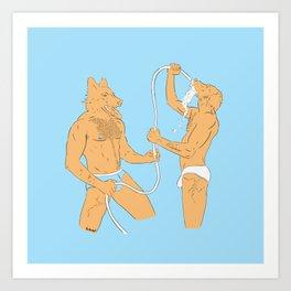 Dogmen fight with water in underwear Art Print