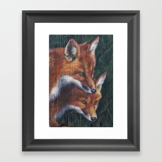 Two Foxes Framed Art Print