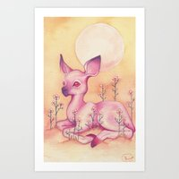 fawn Art Prints featuring Fawn by Henna Hakulinen