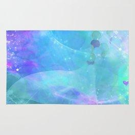 Purple Enchanted Sea Watercolor Mermaid Tail Rug