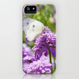 Butterfly and purple flowers iPhone Case
