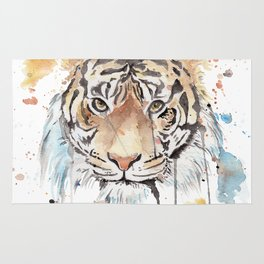 "Watercolor Painting of Picture ""Portrait of a Tiger"" Rug"
