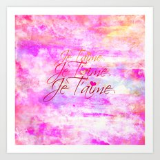 JE T'AIME French Typography Font I Love You Romantic Fine Art Pastel Pink Colorful Abstract Painting Art Print