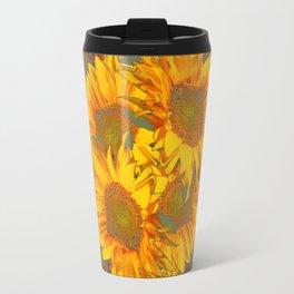 Golden Sunflowers on Putty Color  Art Travel Mug
