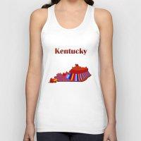 kentucky Tank Tops featuring Kentucky Map by Roger Wedegis
