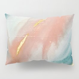 Celestial [3]: a minimal abstract mixed-media piece in Pink, Blue, and gold by Alyssa Hamilton Art Pillow Sham